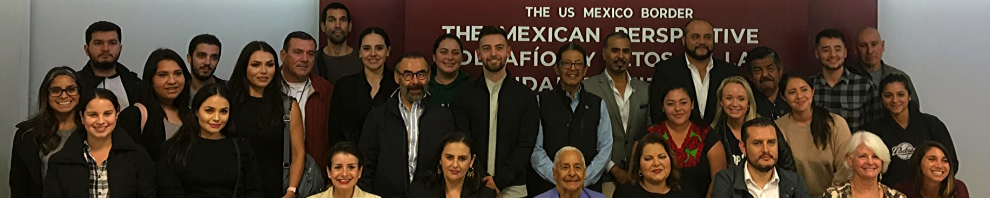 faculty and students at border event