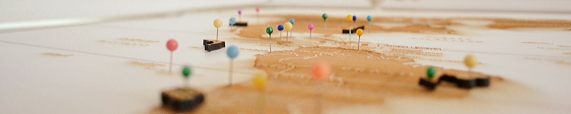 map of Mexico and South America with pins in it